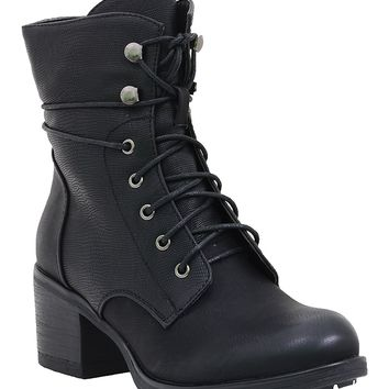 Lace up Military Style Mid Calf Combat Boots Women's Boots Vegan Leather