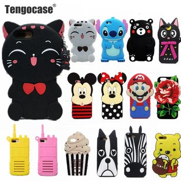 Tengocase cartoon cat minnie bear ice crem flowers soft silicone case for iPhone 7 6 6S plus 3d cute cover for iPhone 8 plus