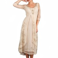 Nataya 40163 Downton Abbey Style Tea Party Dress in Pearl