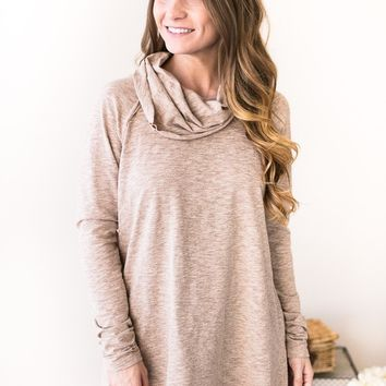 Candid Moments Cowl Neck Top - Beige