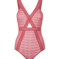 Mid Pink Geometric Lace Bodysuit | New Look