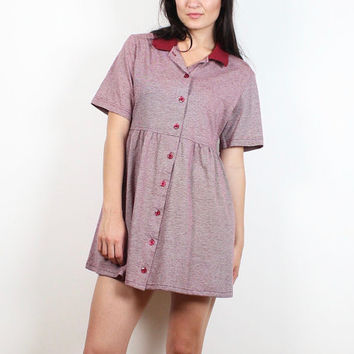 Vintage 80s Babydoll Dress Preppy Burgundy Red Striped Micro Mini Dress Preppy Collared Shirt Dress 1980s Tshirt Lolita Hipster S M Medium