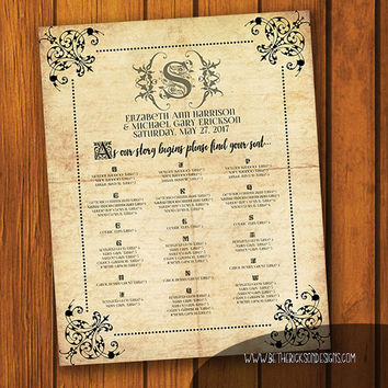 Welcome Sign/ Seating Chart / Fairytale Wedding / Vintage Wedding / Old Paper Wedding/ Fairy tale / fairytale / Anniversary / Wedding