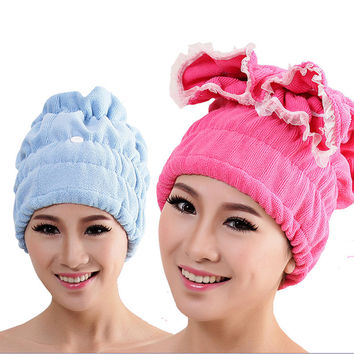 high quality Super absorbent Microfiber Magic Hair Drying Towel Quick Dry Bath Hair hat Towels Home hotel Bathroom products