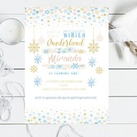 Winter Onederland Invitation for girl  - Onederland Invite - Winter Birthday Invitation - PRINTABLE - Snowflake Birthday Invitation