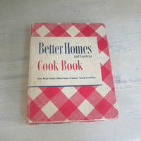 BHG Better Homes and Gardens 1947 Cookbook 14th Printing , Vintage Cookbook  , BHG Red Check Cookbook , Vintage Recipes