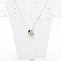 Three Ring Owl Necklace in Gold - Urban Outfitters