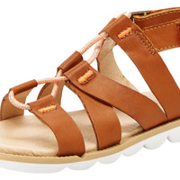Step & Stride Girl's Ashton Brown Strappy Elastic Sporty Gladiator Sandal