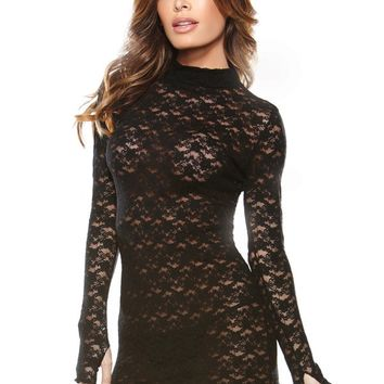 Black Long Sleeve Lingerie Dress