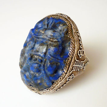 Art Deco Ring Chinese Export Carved Lapis Spider Insect Sterling Silver Symbol Antique Jewelry