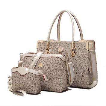 Deluxe Women 3 Piece Tote Bag Pu Leather Handbag Purse Bags Set