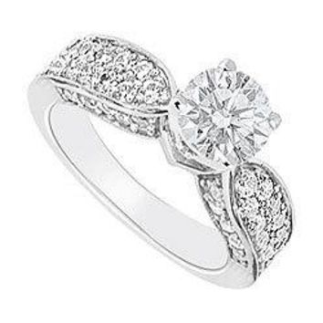 Semi Mount Engagement Ring in 14K White Gold with1.00 Carat Diamonds Not Included Center Diamond