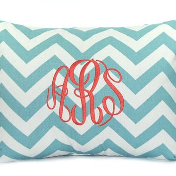 Monogrammed Pillow Decorative Throw Pillow Cover Chevron Personalized Home Decor 12 x 16 Baby Gift Dorm Decor