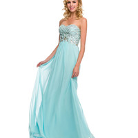 Aqua Strapless Sweetheart Embellished Bodice Dress 2015 Prom Dresses