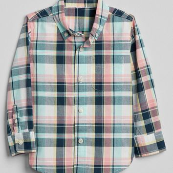 Plaid Button-Down Shirt|gap