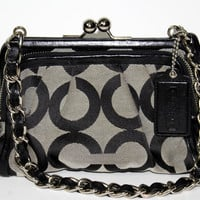 Coach Parker OP Art Clutch Leather Trim Kisslock #13623 Purse