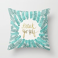Treat Yo Self – Gold & Turquoise Throw Pillow by Cat Coquillette | Society6