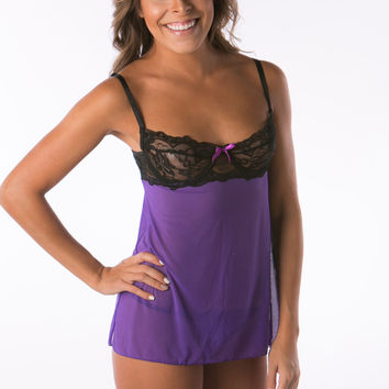 Purple women's lingerie with black lace
