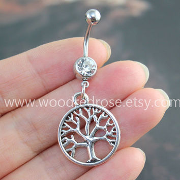 Tree of Life belly button ring,Silver Belly Button Rings,Navel Piercing,friendship belly rings, Dangle Belly Ring , Belly Button Piercing