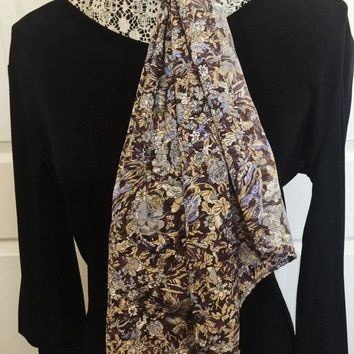 Vintage Long Scarf, Vintage Accessory, Floral Print, Brown, Blue, White, Lavendar, Beige, DIY Craft