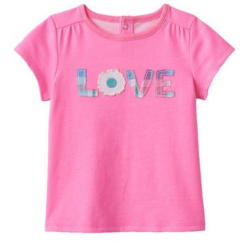 Jumping Beans Plaid ''Love'' Tee - Baby Girl, Size: