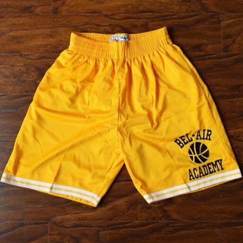MM MASMIG The Fresh Prince of Bel-Air Academy Basketball Shorts Stitched Yellow S M L XL XXL