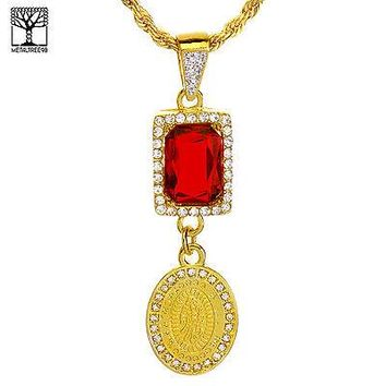 """Jewelry Kay style Icy Double Red Ruby & Oval Guadalupe Pendant 20"""" Rope Chain Necklace NA 0181 G"""