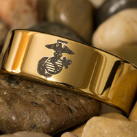 Tungsten Carbide Band Marines 9mm Gold Pipe Ring