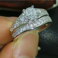 Retro Low Price High Quality Jewelry 10kt white gold filled white Topaz Weeding Ring