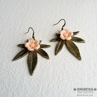 Cannabis Earrings with peach flowers  - bronze, marijuana jewelry, Victorian Steampunk Large boho earring, jewelry, 420, ganja