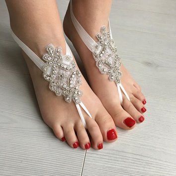 Rhinestone Anklet, Crystal Barefoot sandals, Beach wedding barefoot sandals, Bridal foot jewelry, Footless sandals, Bridesmaid gift, Anklet