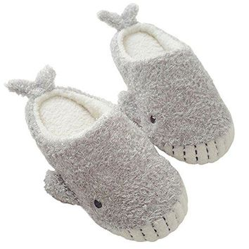 ChicPro Ladies Fuzzy Cute House Whale Slippers Warm Winter Indoor Bedroom Slippers Shoes for Women