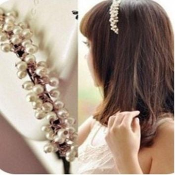DCCKU62 Ahmed Jewelry Fashion Sweet White All Beautiful Pearl Hair Rope Headwear Hair Accessories for Woman 0028