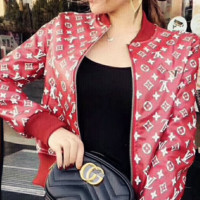 LV Louis Vuitton female Leather clothing Embroidery Loose coat