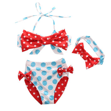 3Pcs/set Kids Baby Girl Bikini Suit Polka Dot Swimwear Swimsuit Swimming Outfits Bathing