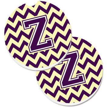 Letter Z Chevron Purple and Gold Set of 2 Cup Holder Car Coasters CJ1058-ZCARC