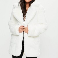 Missguided - White Faux Fur Coat