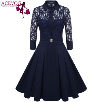 ACEVOG Brand Women Vintage Pleated Dress Autumn Retro Style Sexy Pattern Slim Casual Party Swing Lace Dress 2 Pieces Dress