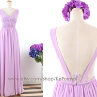 Lilac v-neck Long Prom Dresses see- through , Lavender Chiffon Formal Dresses, Long Chiffon Prom Gown, Wedding Party Dresses