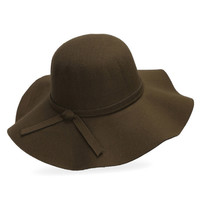 Army Green Bow Tie Woolen Floopy Fedora Hat