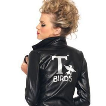 Sexy Licensed Grease Sandy T-Birds Faux Leather Halloween Costume Jacket