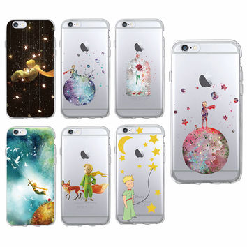 Cute Lonely Le Petit Little Prince Fox Rose Water Color Soft Phone Case Fundas Coque For iPhone 7 7Plus 6 6S 6Plus 5 5S SAMSUNG