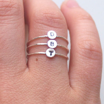Set of Three Custom Initial Rings by proteales on Etsy