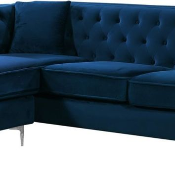 Jesse Deep Tufted Navy Velvet 2pc. Reversible Sectional