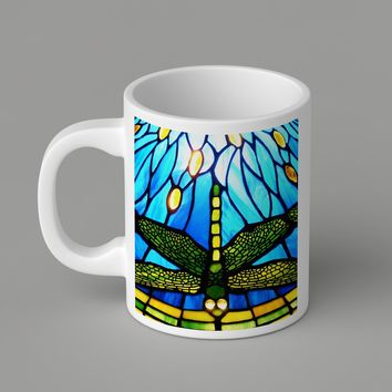 Gift Mugs | Tiffany Style Dragonfly Ceramic Coffee Mugs