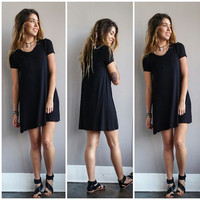 A Black Bamboo Tee Dress