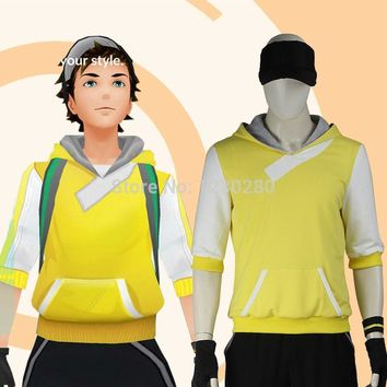 Anime Pokemon Go Costume Pocket Adult Men Monster Trainer Yellow Hoodie Pokemon Go Team Suit Halloween Cosplay Costume Game