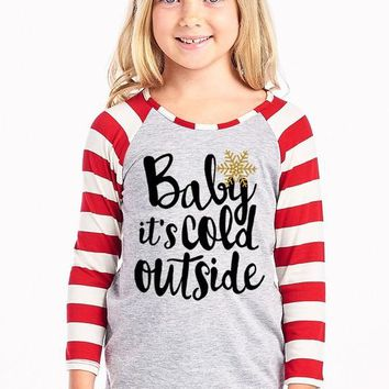 Girls Baby its Cold Outside Top, Red