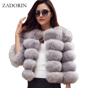 S-3XL Mink Coats Women Winter New Fashion Pink FAUX Fur Coat Elegant Thick Warm Outerwear Fake Fur Jacket Chaquetas Mujer