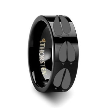 Black Deer Track Design Engraved Flat Tungsten Carbide Ring 10mm